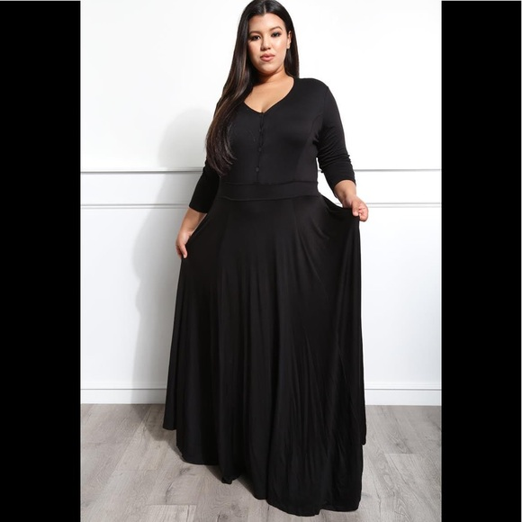 Plus Size Black Maxi Dress Sweep The Floor Boutique